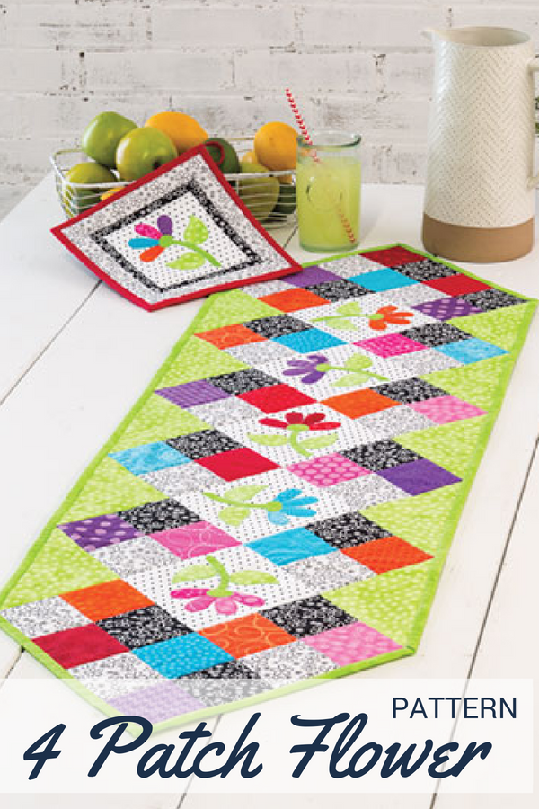 Turn your scraps into jaw dropping gorgeous home decor items with this 4 Patch Flower Table Runner pattern.