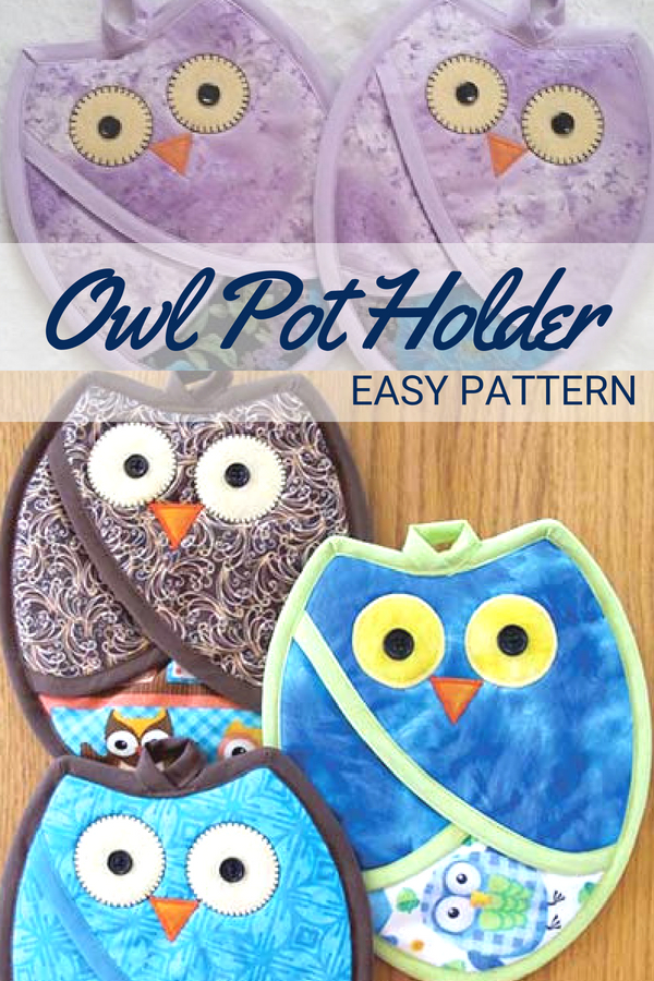 These owl pot holder handlers are quick, easy and functional! They have a pocket in the front so your hands are protected from you heat and flames.