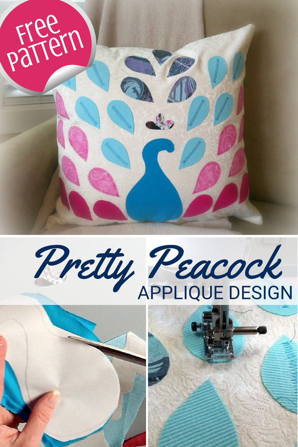 Turn your fabric scraps into this pretty peacock pillow. Design uses a raw edge applique technique and is perfect for all skill levels.