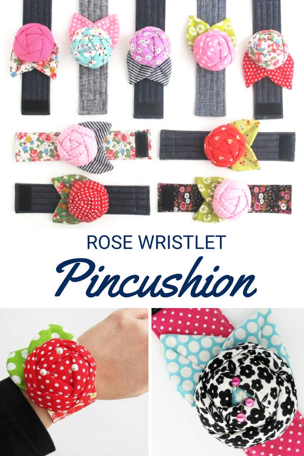 Keep your pins close with this fashionable & functional rose wristlet pincushion pattern.