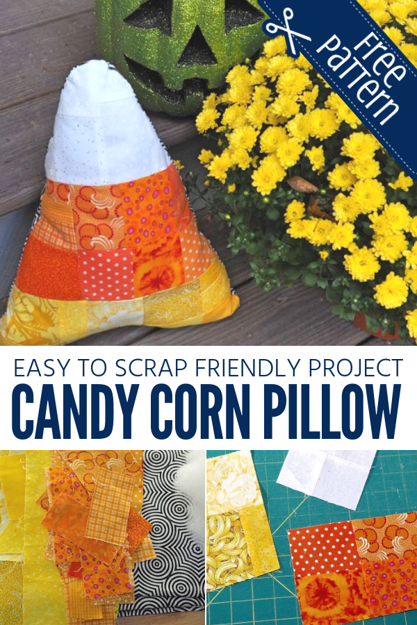 Turn your fabric scraps into a holiday pillow with this free Candy Corn Patchwork pattern.
