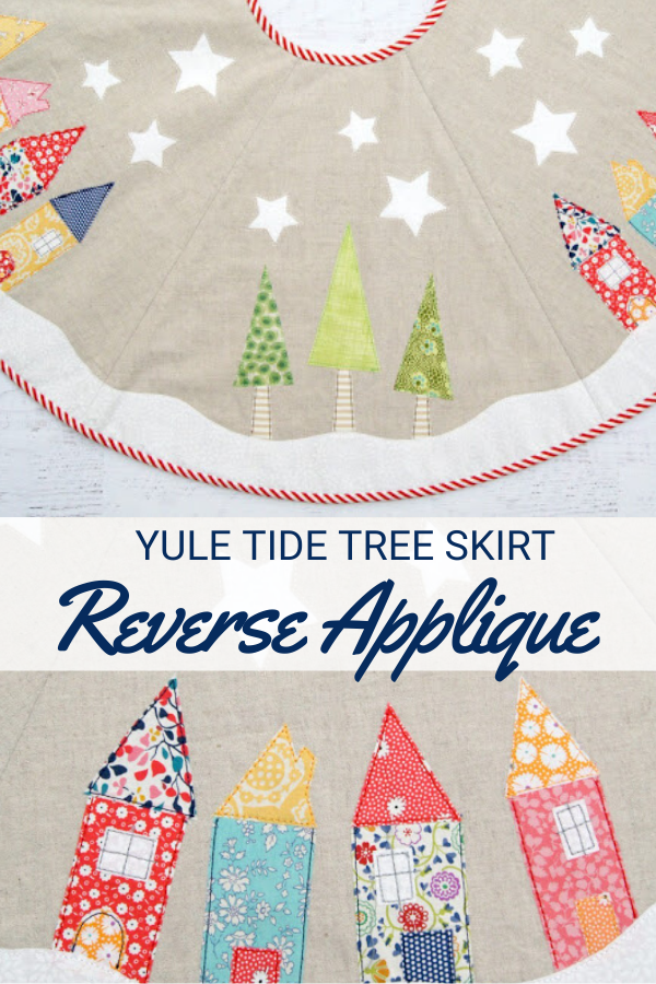 Yule Tide Tree Skirt sewing pattern with reverse applique tutorial.