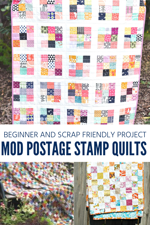 Mod Postage Stamp Quilts. Beginner and Scrap Friendly Quilt Projects