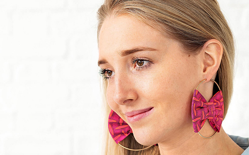 Upcycled Hoop Earrings with Fabric Scraps