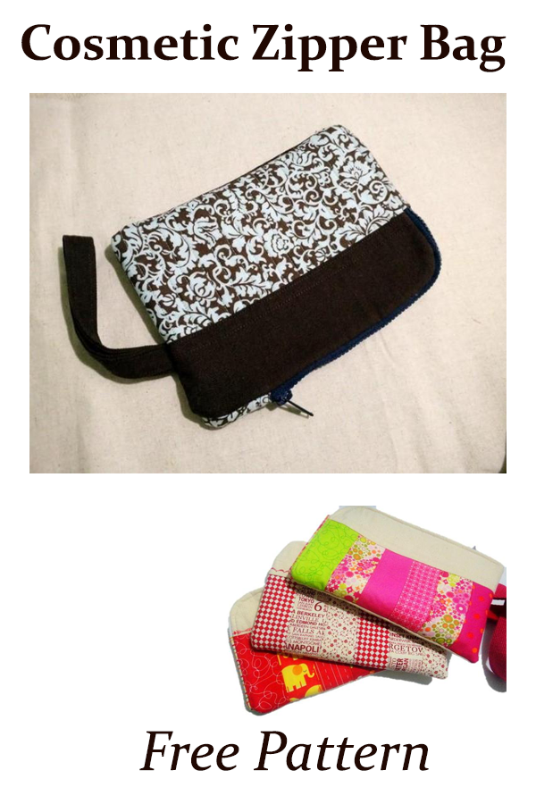 Cosmetic Zipper Bag  Free Pattern #freesewingbag #sewingpattern