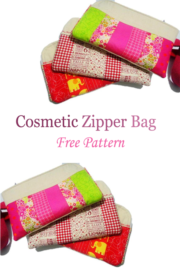 Cosmetic Zipper Bag  Free Pattern #freesewingpattern #learntosew