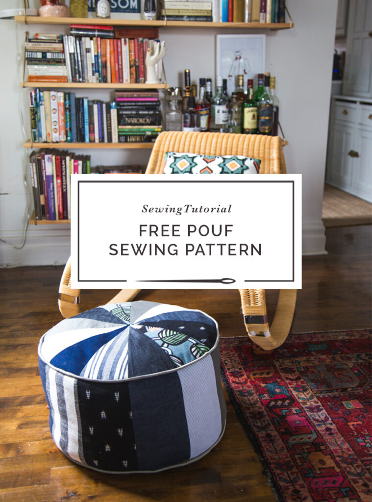 Free Pouf Sewing Pattern perfect for sewing with scraps