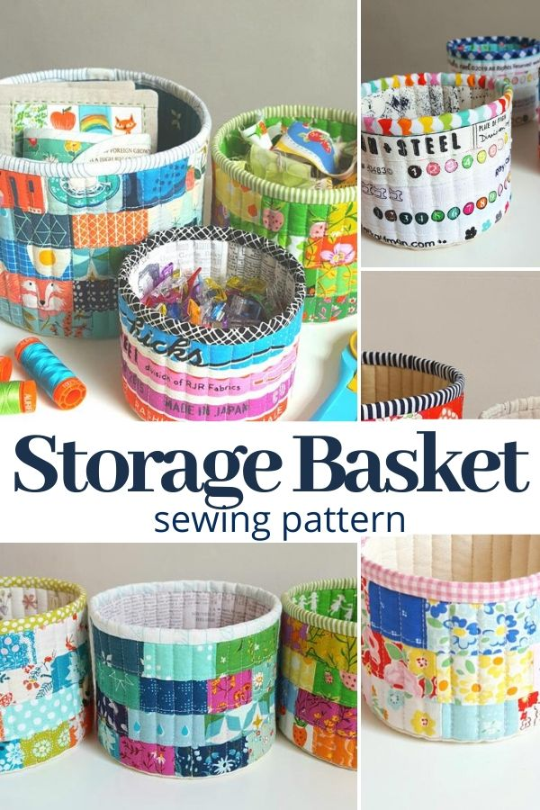 Turn your fabric scraps into a storage basket with this easy to make patter. #sewingpattern #fabricbasket