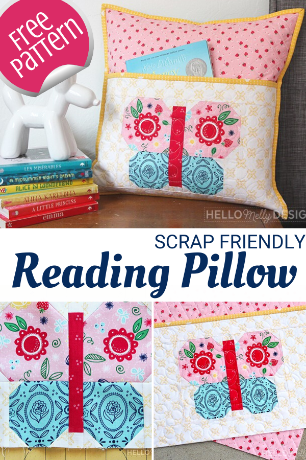 Quilted Reading Pillow with Butterfly Pattern