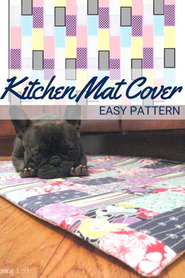 DIY budget friendly kitchen mat cover.