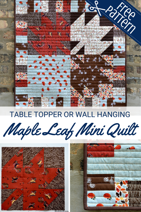Maple Leaf Mini Quilt free pattern and tutorial