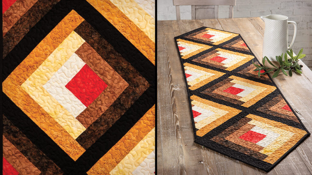 Classic Log Cabin Table Runner With a Twist