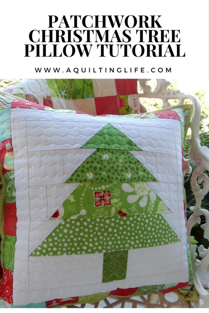 Patchwork Christmas Tree Pillow pattern and tutorial for holiday decor