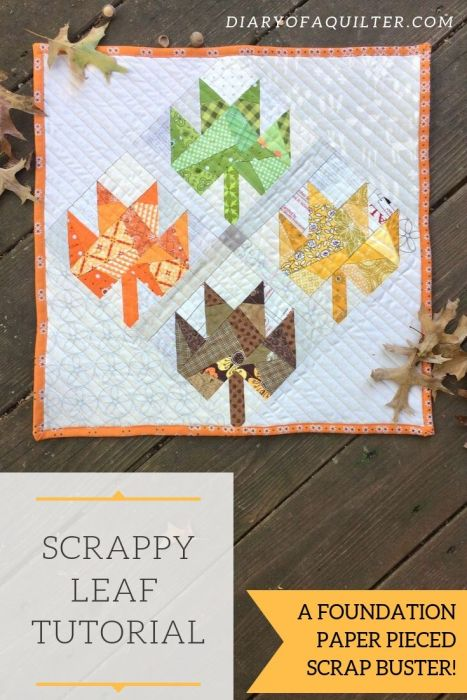Free Scrappy Leaf Mini Quilt Pattern and Tutorial