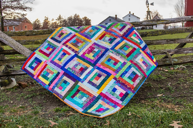 Batik Fabric Log Cabin Quilt with Courthouse Steps variation
