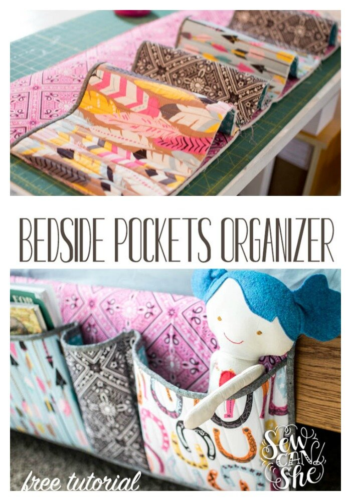 Free Bedside Pocket Organizer Sewing Tutorial