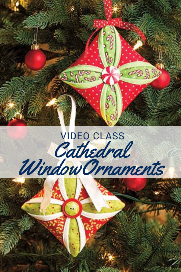Handmade Christmas Tree Ornament featuring the Cathedral Window pattern