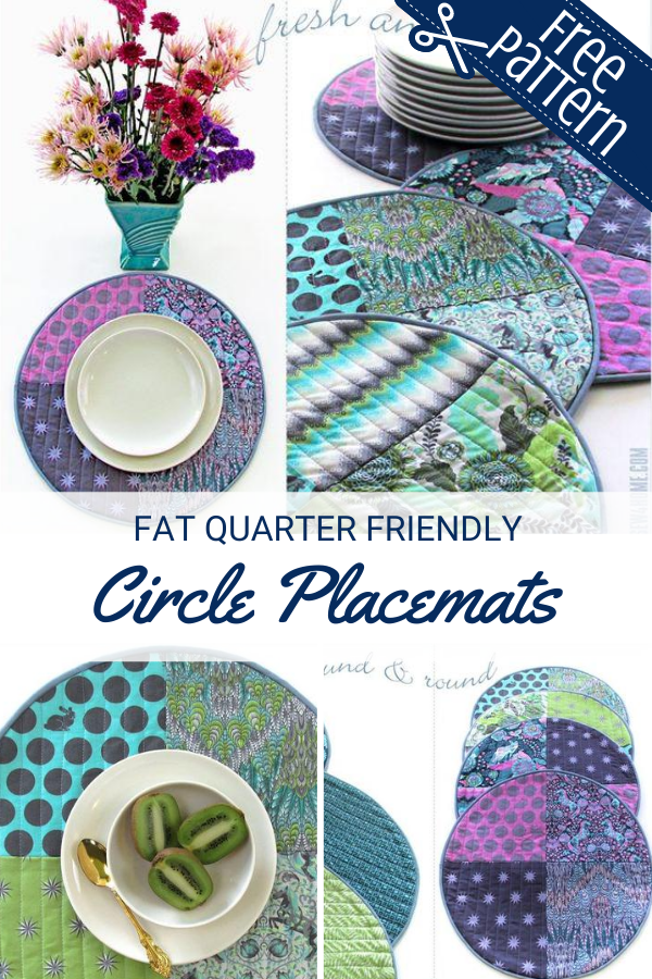 Fat quarter friendly quilted circle placemats tutorial and free pattern