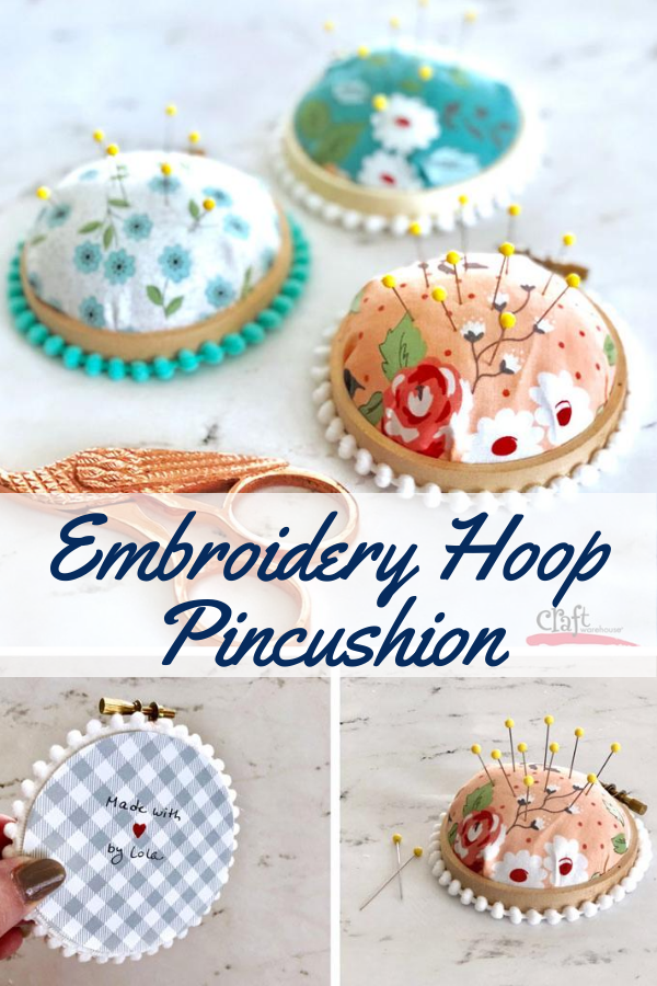Easy to make embroidery hoop pincushion tutorial