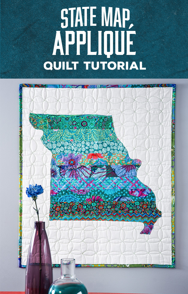 State Map Applique Quilt Tutorial by Man Sewing. Video Tutorial.