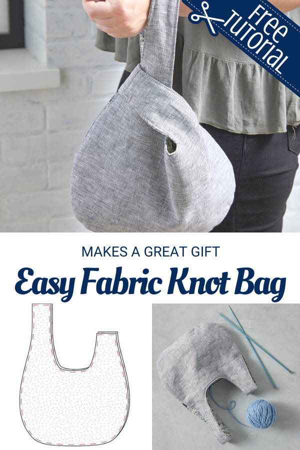 Easy to sew fabric knot bag free pattern