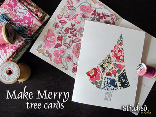 Make Merry Tree Cards with fabric scraps