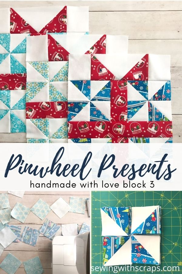 Come join the fun as we make block 3 in the Handmade with Love quilt along, the Pinwheel Present Quilt Block