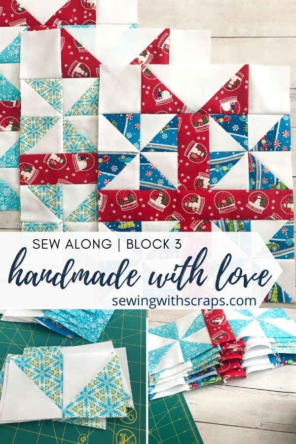 Pinwheel Presents Quilt Block | Handmade with Love Sew Along Block 3.