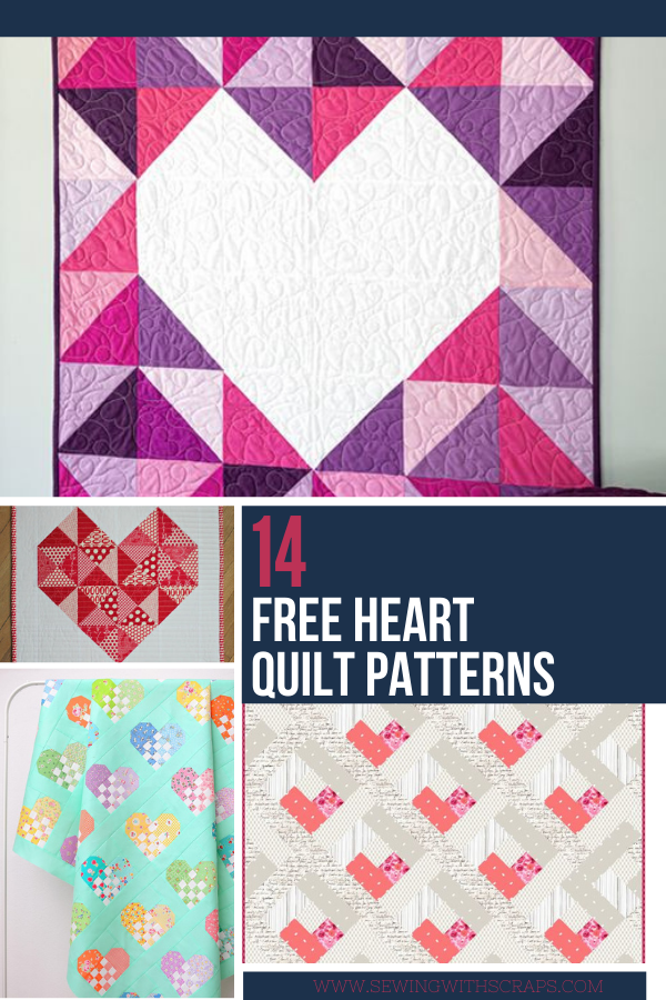 12 Free Heart Quilt Patterns perfect for Valentine's Day