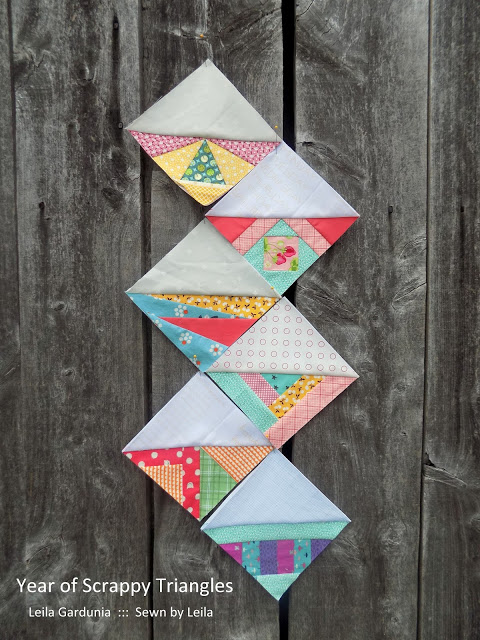 Free Paper Piecing Quilt pattern for a Year of Scrappy Triangles