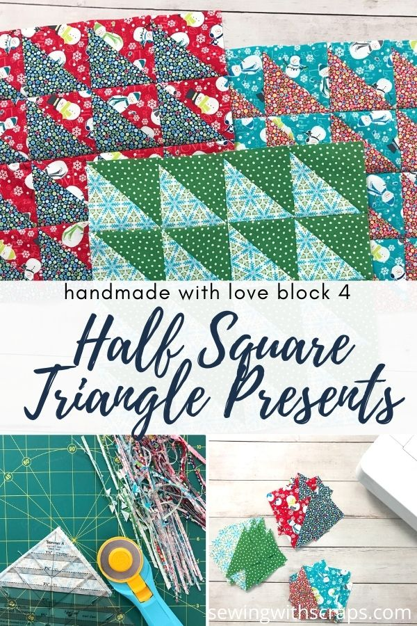 Come join the fun as we make block 4 in the Handmade with Love quilt along, the Half Square Triangle Present Quilt Block