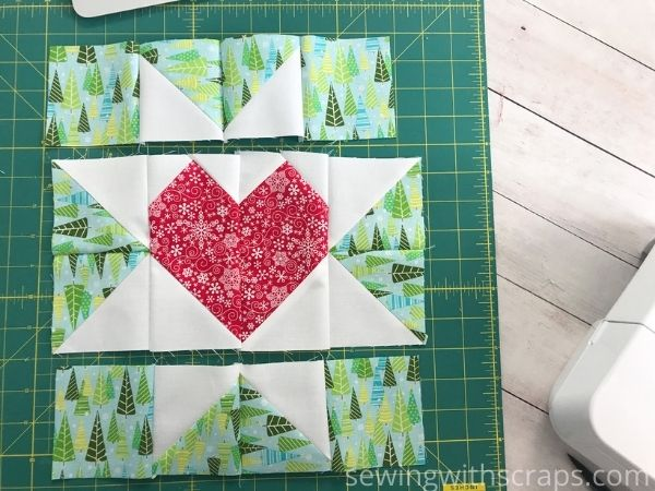 Pressing the Star & Heart Present Block in the Handmade with Love quilt along.