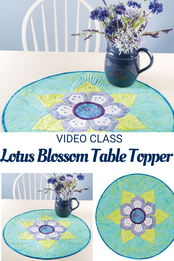 Lotus Blossom applique table topper sewing pattern