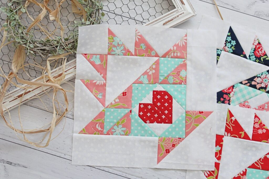 Easter Basket Quilt block patterns with paper pieced heart focal block.